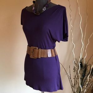 Uneven Sleeve Drapey Plum Colored Top NWOT